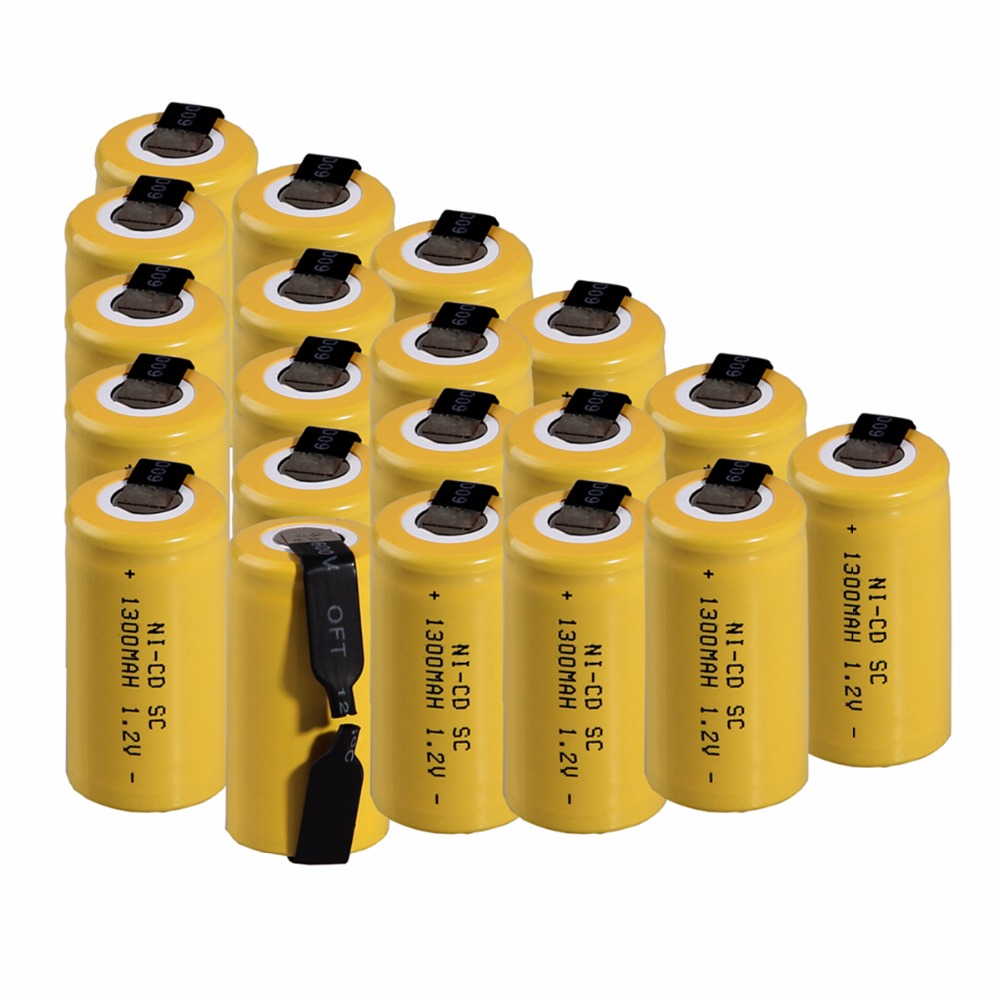 20 pcs SC 1300mah 1.2v battery NICD rechargeable batteries for makita bosch B&D Hitachi metabo dewalt for emergency light toy