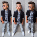 new spring boys jeans wear clothes kids suits children boys coat+plaid shirt + pants 3pcs Clothing Set