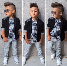 new spring boys jeans wear clothes kids suits children boys coat plaid shirt pants 3pcs Clothing