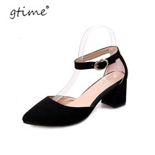 Gtime Summer Pumps Shoes Flock Pointed Toe Mary Janes High Heels Casual Autumn Elegant Lady Buckle Strap Shoes Woman # ZWS142