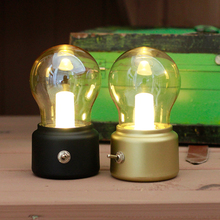 Lámpara de noche recargable por USB con ambiente de Bombilla LED Vintage, lámpara de mesa con ahorro de energía para iluminación interior