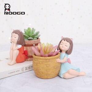 Image 2 - Roogo 樹脂植木鉢アメリカンスタイルの装飾植木鉢かわいい女の子多肉植物プランター蘭ポット家庭菜園バルコニーの装飾