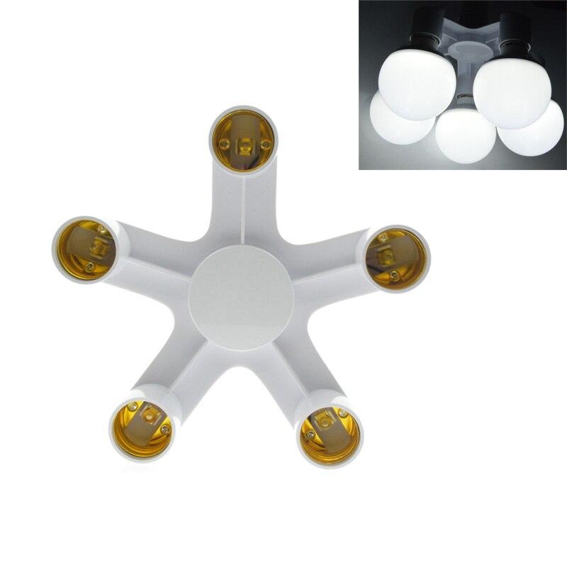 1 To 3/4/5/Lamp Holder Bulb Holder Dual Double E27 Socket Base Extend Splitter Plug Halogen Light Lamp Copper Contact Adapter