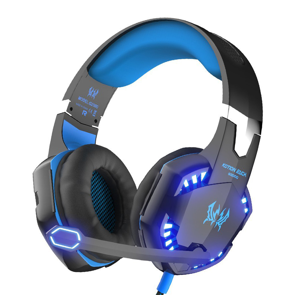 Kotion each G2000 Gaming Headset gamer 3.5mm earphone wired gaming headphone with Microphone LED headphones for computer pc game rgb light wired game headset usb 7 1 earphone gaming headphones with microphone for pc computer gamer high quality voice control