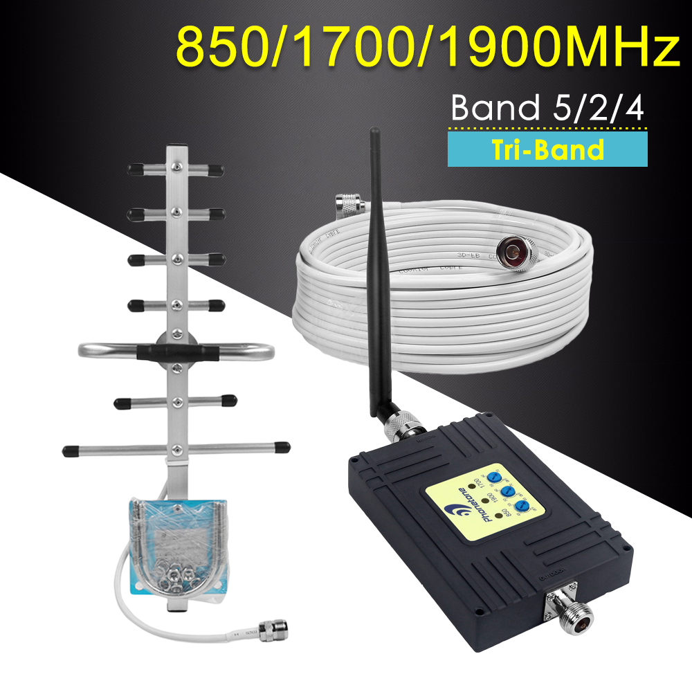 Tri-Band Cell Phone Signal Booster For Chile Mexico 850/1700/1900MHz GSM Repeater 2G 3G 4G LTE Amplifier Mobile Network Booster
