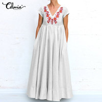 2019 Summer Dress Celmia Women Casual Long Maxi Dress Sexy V Neck Vintage Print Pleated Shirt Dress Loose Robe Party Vestido 5XL