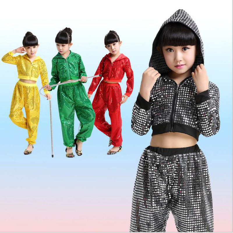 Colores lentejuelas niños adultos falso Sweatpants ropa de actuación Jazz Hip Hop danza pantalones niños modernos Ropa de baile disfraces Sudadera con capucha