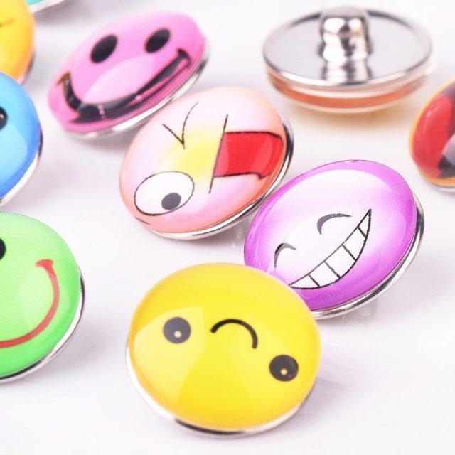 Austauschbare Fashion Emoji Glas Druckknopf Handwerk Snaps Schmuck