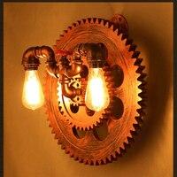 Ретро деревенский Шестерни свет бар Loft промышленных настенный светильник творческий ресторан Кафе Арт трубы wallsconce Эдисон лампочка для спа