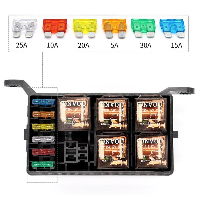 VODOOL 12V 40A Universal Car 6-Way Fuse Box Relay+ 6-Slot ATO/ATC Blade Fuse Holder Automobile Vehicle Boat RV Circuit Protector 32v 1 in 8 out auto car boat fuse holder standard ato atc blade fuse holder box block holder car boat electrical fuse equipment