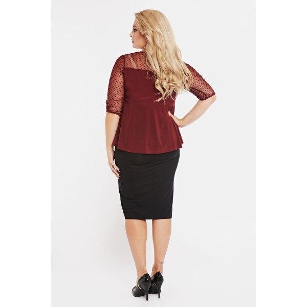 Blouse Peplum plus size lace panel long sleeve peplum blouse