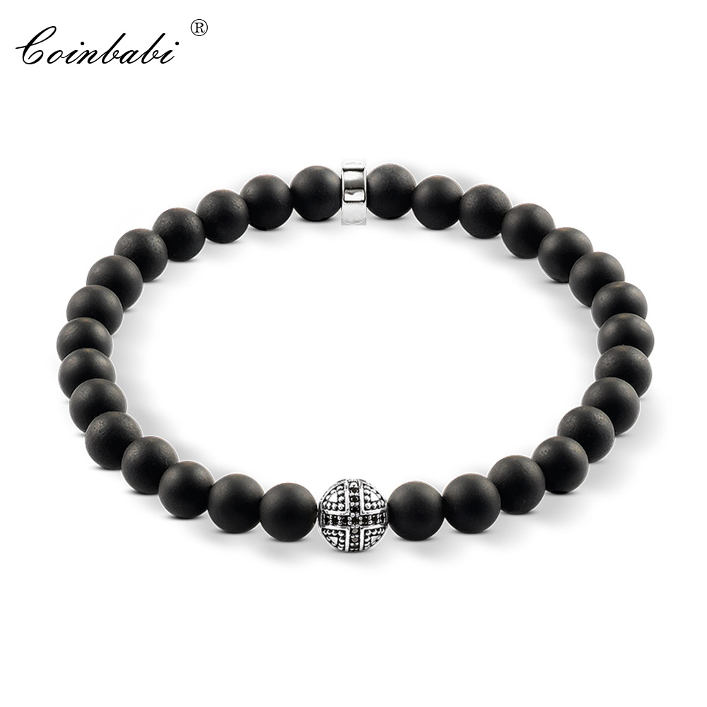 Thomas Hero Zirconia Pave Cross Beads Black Obsidian Heart Matted Bracelet, Ts Rebel 8mm 925 Sterling Silver Jewelry For Men thomas style km bead bracelet with tiger s eye owl skull lily beads karma bracelet rebel heart jewelry for men ts kb536