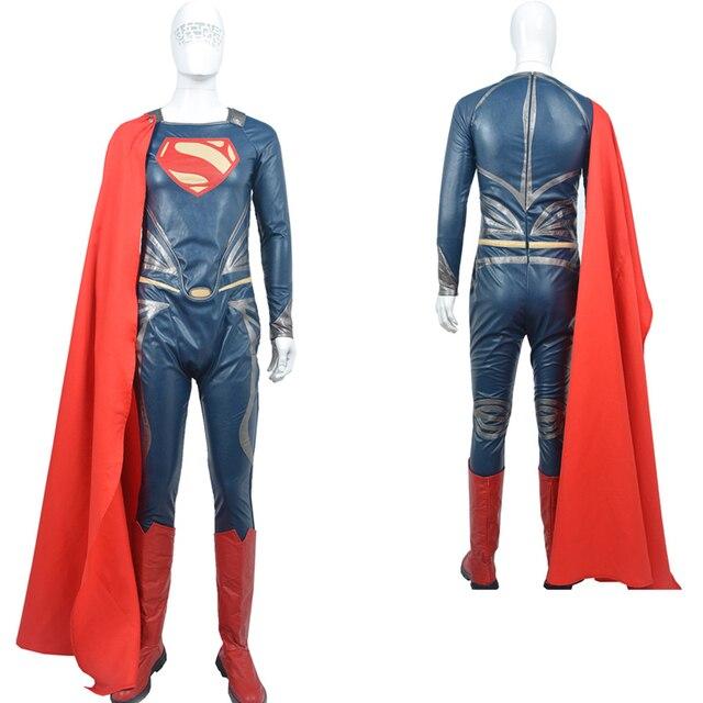 146d08c3e84e6 Superman  El hombre de acero Cosplay traje adulto sobretodo de cuero  fantasia Halloween traje para