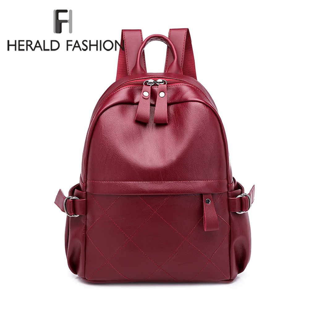 Herald Fashion Leather Women Backpack Fashion Solid School Bags For Teenager Girls Large Capacity Casual Women Black Backpacks