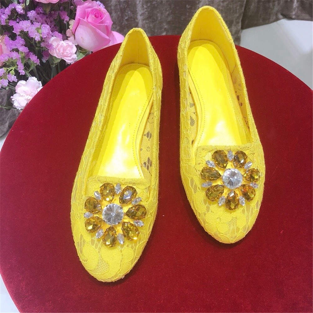 Stkehidba Import Lace Crystal Women s Shoes Genuine Leather Flats Shoes For Causal Shoes For Woman
