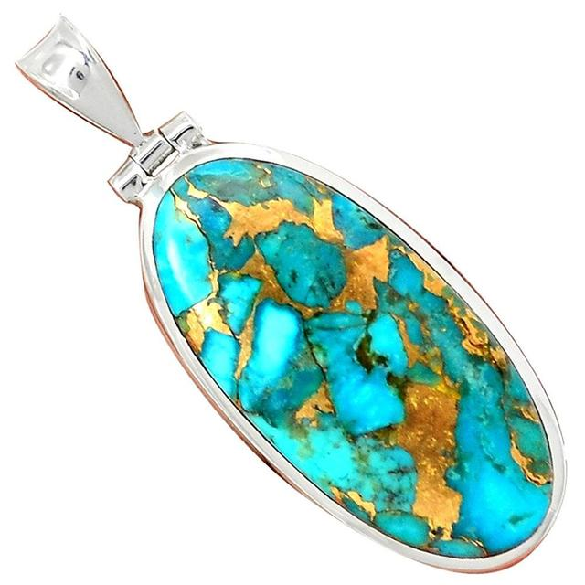 Lovegem Genuine BLUE COPPER TURQUOISE Pendant 925 Sterling Silver, 49 mm, AP3105