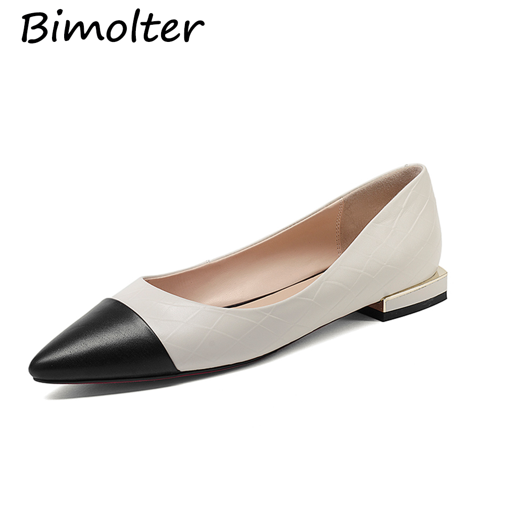 Bimolter Genuine Leather Flat Shoes Woman Cow Leather Loafers Spring - Women's Shoes