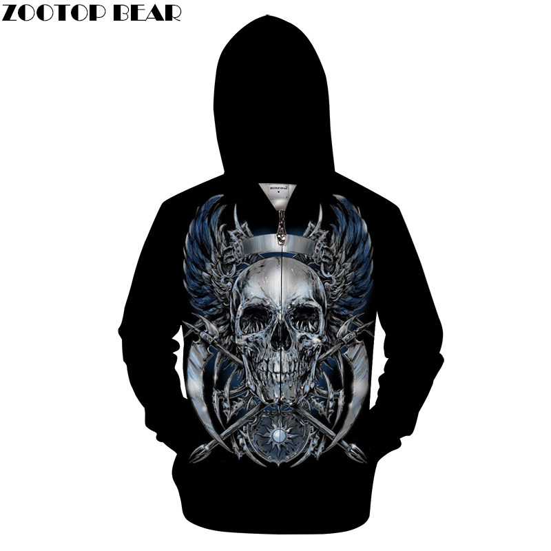 Iron Skull 3D Zip Hoodies Men Women Sweatshirts Zipper Hoody Print Tracksuit Streatwear Coat Hooded Pullover Dropship ZOOTOPBEAR