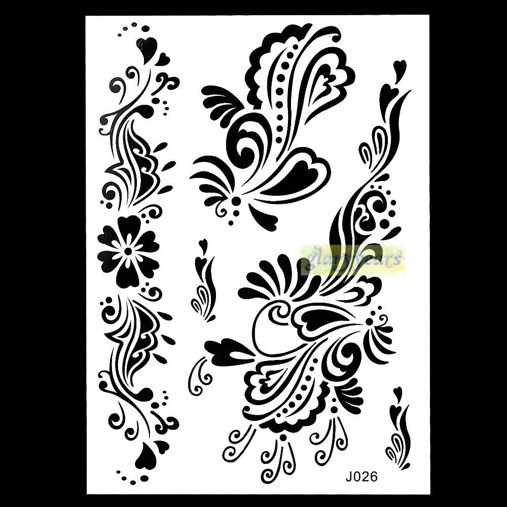 1PC Flash Metallic Waterproof Tattoo Women Black Ink Mehndi Henna BJ026 Hand Leg Flower Design Sexy Cool Temporary Tattoo Paster