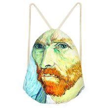 Drawstring Bag Van Gogh oil painting Monet For Women Fashion Summer Travel Shoulder Bag Small Kids Girls backpack Custom DIY Bag(China)