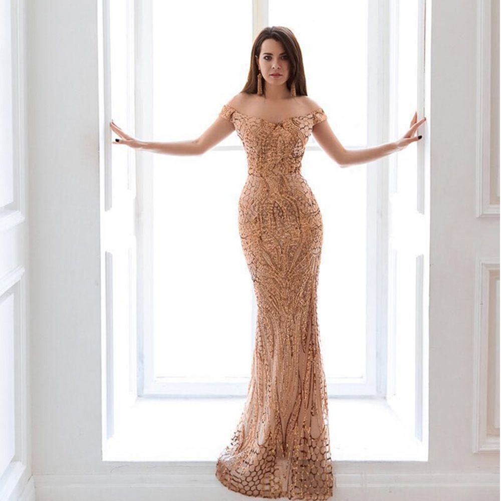 <font><b>2018</b></font> fashion <font><b>dress</b></font> <font><b>sexy</b></font> <font><b>women</b></font> off the shoulder sequined backless slash neck elegant celebrity body con party <font><b>dresses</b></font> wholesale image