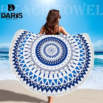 Настоящее микрофибры круглый пляжное Полотенца s спортивный шарф богемный круг салфетку De Plage Toalla Плайя купальное полотенце с кисточкой