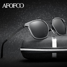 AFOFOO Brand Aluminium Magnesium Frame Polarized Sunglasses Stainless Steel Temple Men Driving Sun glasses Male UV400 Shades