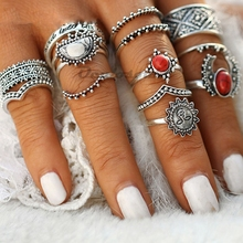 14pcs/Set Vintage Silver Moon and Sun Midi Ring Set Pattern for Women Female Red Large Stone Knuckle Ring Gift