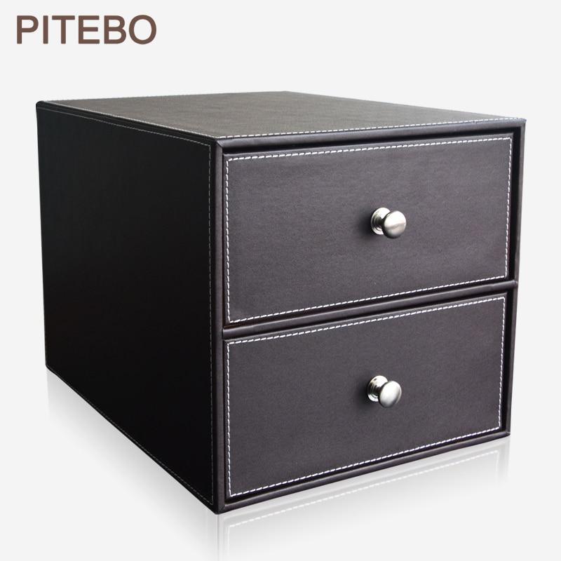 PITEBO brown 2-drawer leather office desk file cabinet organizer holder file document storage boxPITEBO brown 2-drawer leather office desk file cabinet organizer holder file document storage box
