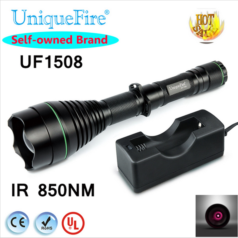 ФОТО Professional 75mm Hunting IR 850nm Flashlight Uniquefire 1508 Flashlight Compact Factory For Outdoor Camping Hunting