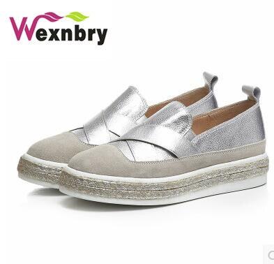 2017 Flat Shoes Woman Slip On Espadrilles Genuine Leather Ladies Shoes  Fashion Women Flats Women Espadrille Shoes Female Loafers-in Women s Flats  from Shoes ... 2b5cff704e87