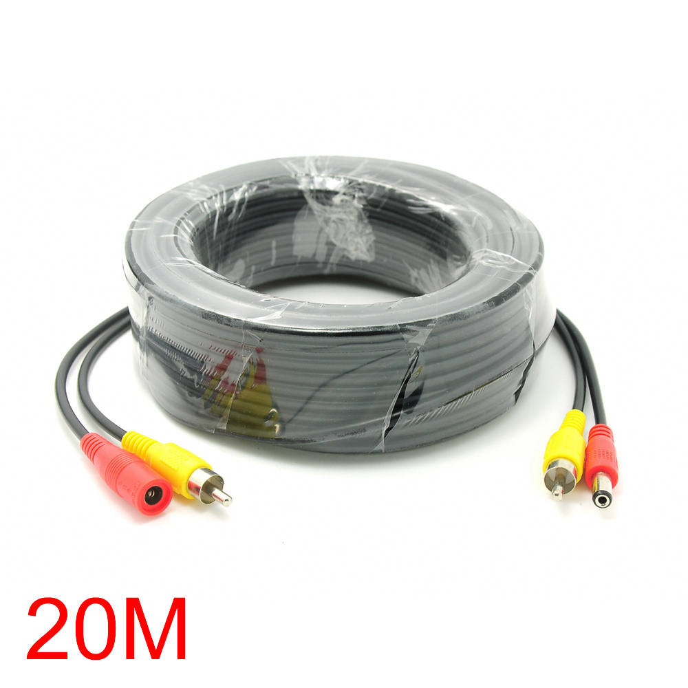 20M/65FT RCA DC Connector Power Audio Video Cable For CCTV Camera Security