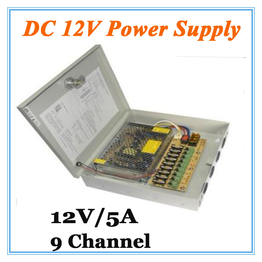 DC12V 5A 9 Channel Power Supply Adapter for CCTV Camera CCTV System 12V Security professional Converter Adapter 4ch 12v 5a power cctv supply box for camera 4 port dc pigtail coat dc adapter