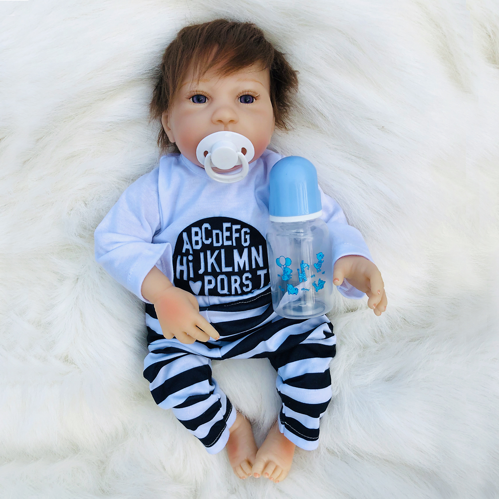 45cm So Truly boy Model Dolls soft Silicone Baby Alive Doll Holding blue bottle fashion Baby Doll Reborn Toys For Children gift45cm So Truly boy Model Dolls soft Silicone Baby Alive Doll Holding blue bottle fashion Baby Doll Reborn Toys For Children gift