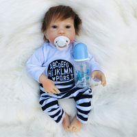 45cm So Truly boy Model Dolls soft Silicone Baby Alive Doll Holding blue bottle fashion Baby Doll Reborn Toys For Children gift