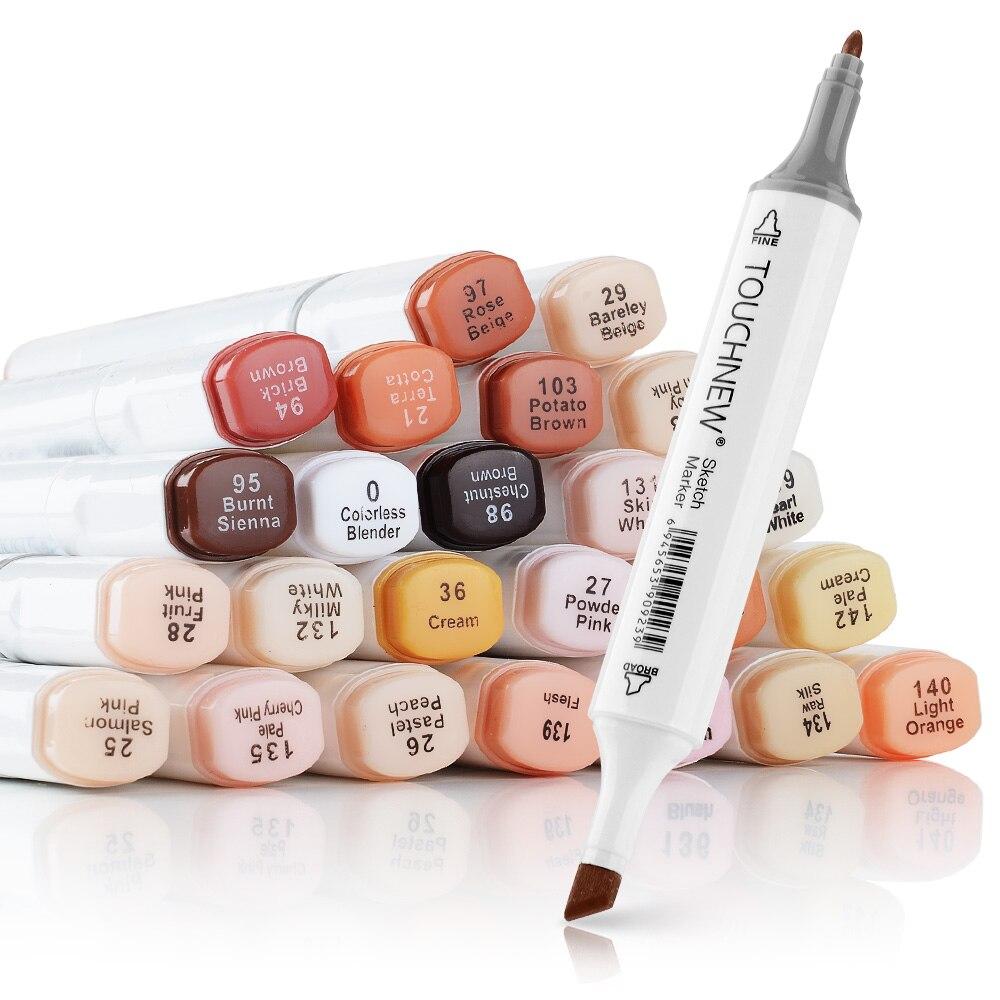 Künstler Touchnew Marker Stifte 24 Farben Blendable Alkohol Marker Haut Ton Set für Porträt Darstellung Zeichnung
