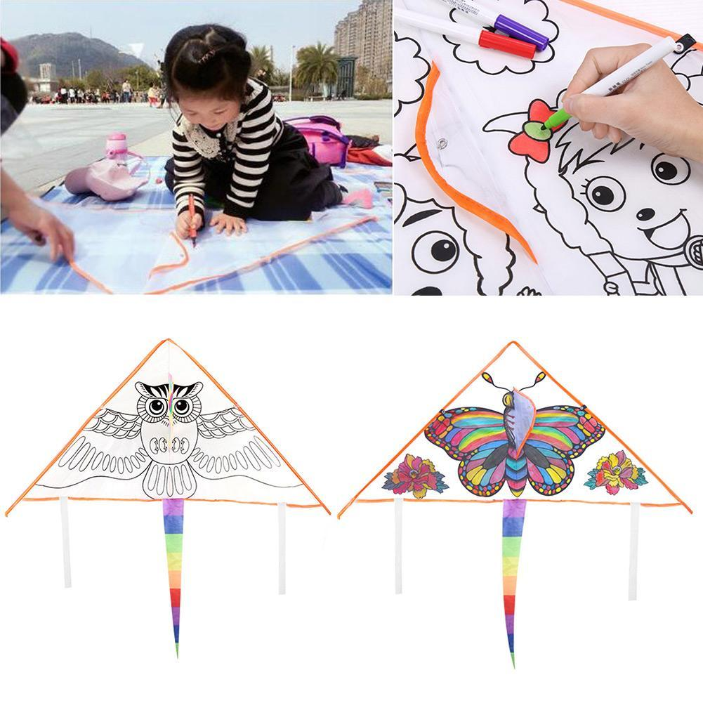 DIY Cartoon Graffiti Kite Family Outings Outdoor Fun Sports Kids Kites Flying Toys For Children