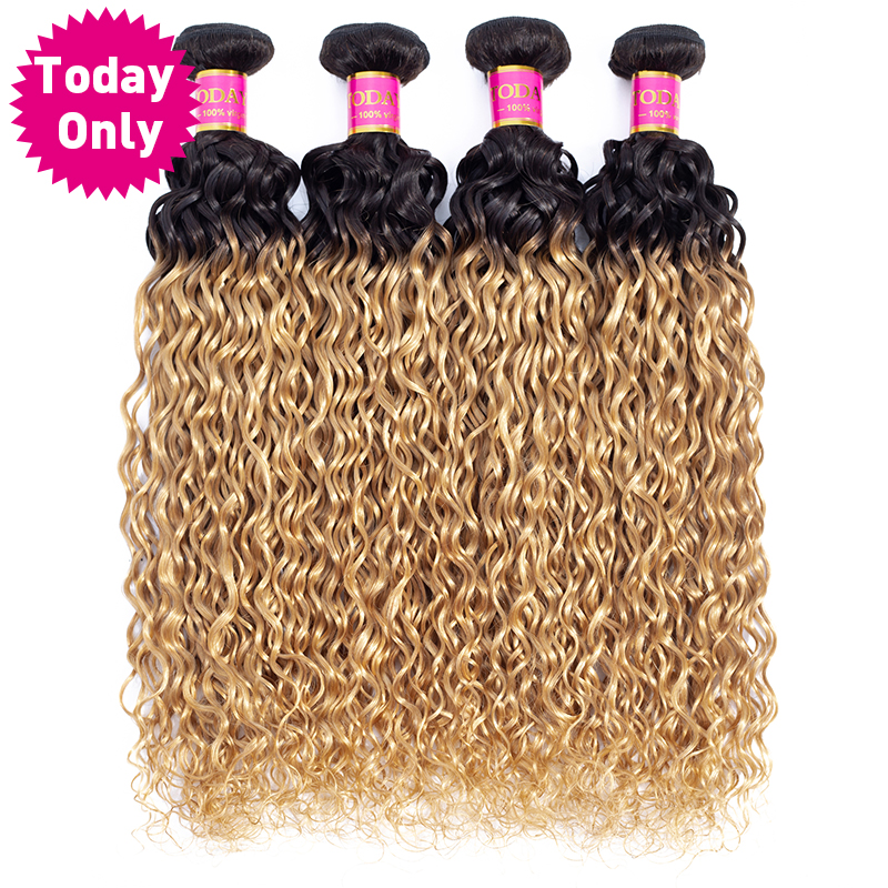 TODAY ONLY Brazilian Water Wave 3 4 Bundles Brazilian Hair Weave Bundles Remy Blonde Bundles Ombre