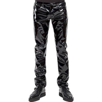 Plus Size S 2XL Sexy Black Lingerie Exotic Pants PU Leather Latex Sexy Zipper PVC Stage Clubwear Exotic Gay Pants