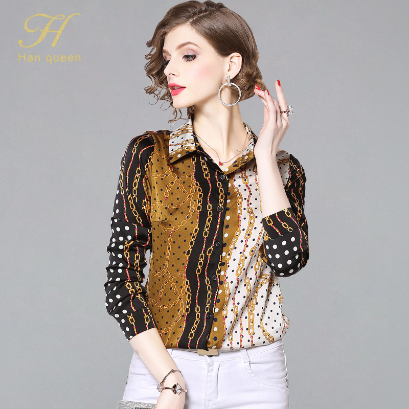 H Han Queen Spring Women's Blouses Loose Long Sleeve Chiffon Blouse Tops Casual Vintage Printing Shirt Women Clothing Blusas
