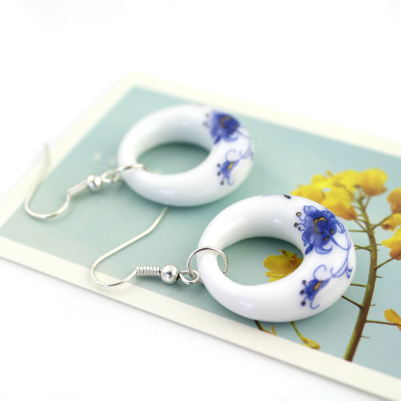 Fashion Romantic Blue and White Porcelain OL Earring Water Drop - Fashion Jewelry - Photo 4