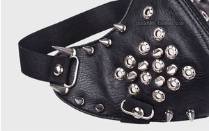 Image 3 - Motorcycle Half Face Studded Punk Silver Metal Spikes Black PU Leather Mask Hip Hop Punk Motocycle Accessories Halloween Party