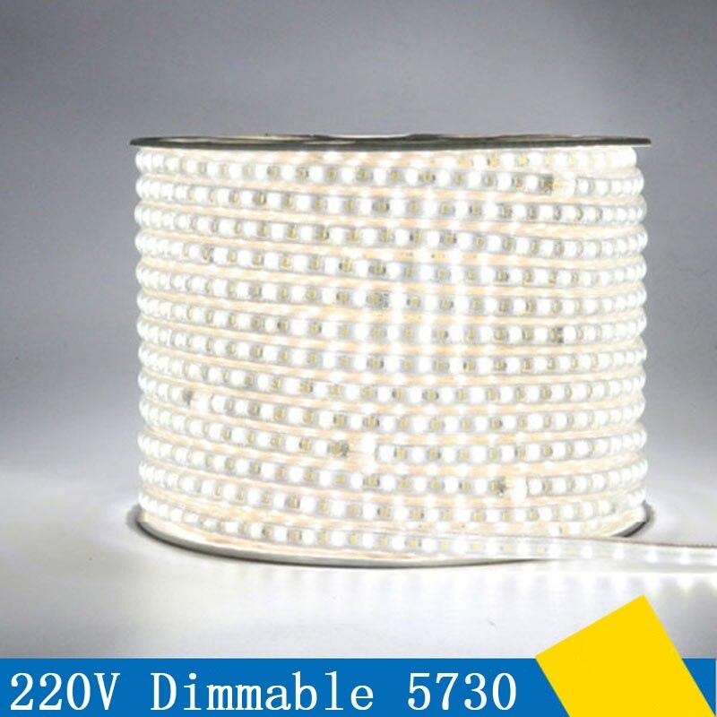 50m/lot led tape light 120leds/m 220V SMD 5730/5630 LED strip white & warm white 3 color Dimmable flexible tape light IP67