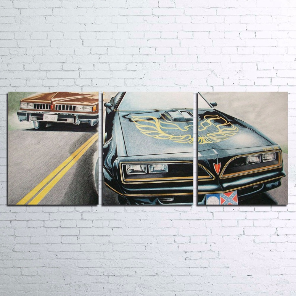 Wall Art Pictures HD Printed Frame Living Room Home Decor 3 Pieces Smokey And The Bandit Movie Painting Sports Car Canvas Poster