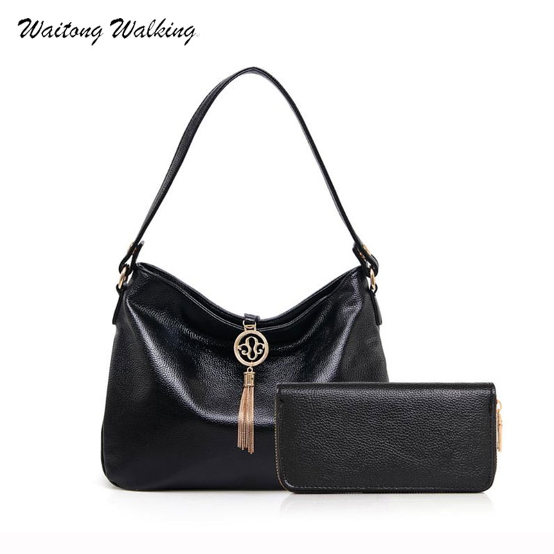 Women Famous Brand Bags Composite Bag Leather Luxury Designer Tassel Handbags Vi
