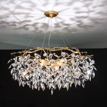 Avize cilası kristal lamba altın şube lamba lamparas modernas salones otel grandes modern led avize
