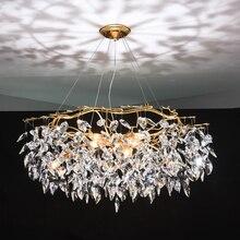 נברשת זוהר קריסטל מנורת זהב סניף מנורת lamparas modernas salones מלון grandes מודרני led נברשת