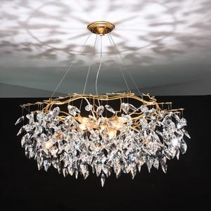 Image 1 - נברשת זוהר קריסטל מנורת זהב סניף מנורת lamparas modernas salones מלון grandes מודרני led נברשת