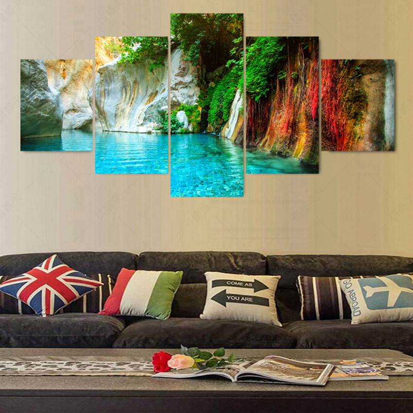 DIY 5d Diamond Painting Crystal Cross Stitch triptych colorful waterfall icon Mosaic painting Diamond Embroidery Christmas