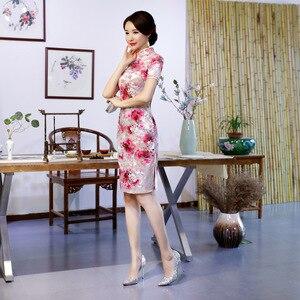 Image 4 - ヴィンテージ女性の冬のビロード袍セクシーなスリムスプリット半袖チャイナ Vestidos 中国の伝統的なプリント毎日ドレス M 4XL